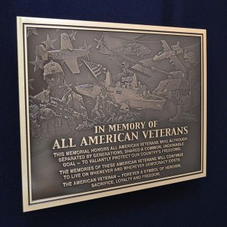 American Veteran Hall Of Fame Plaque