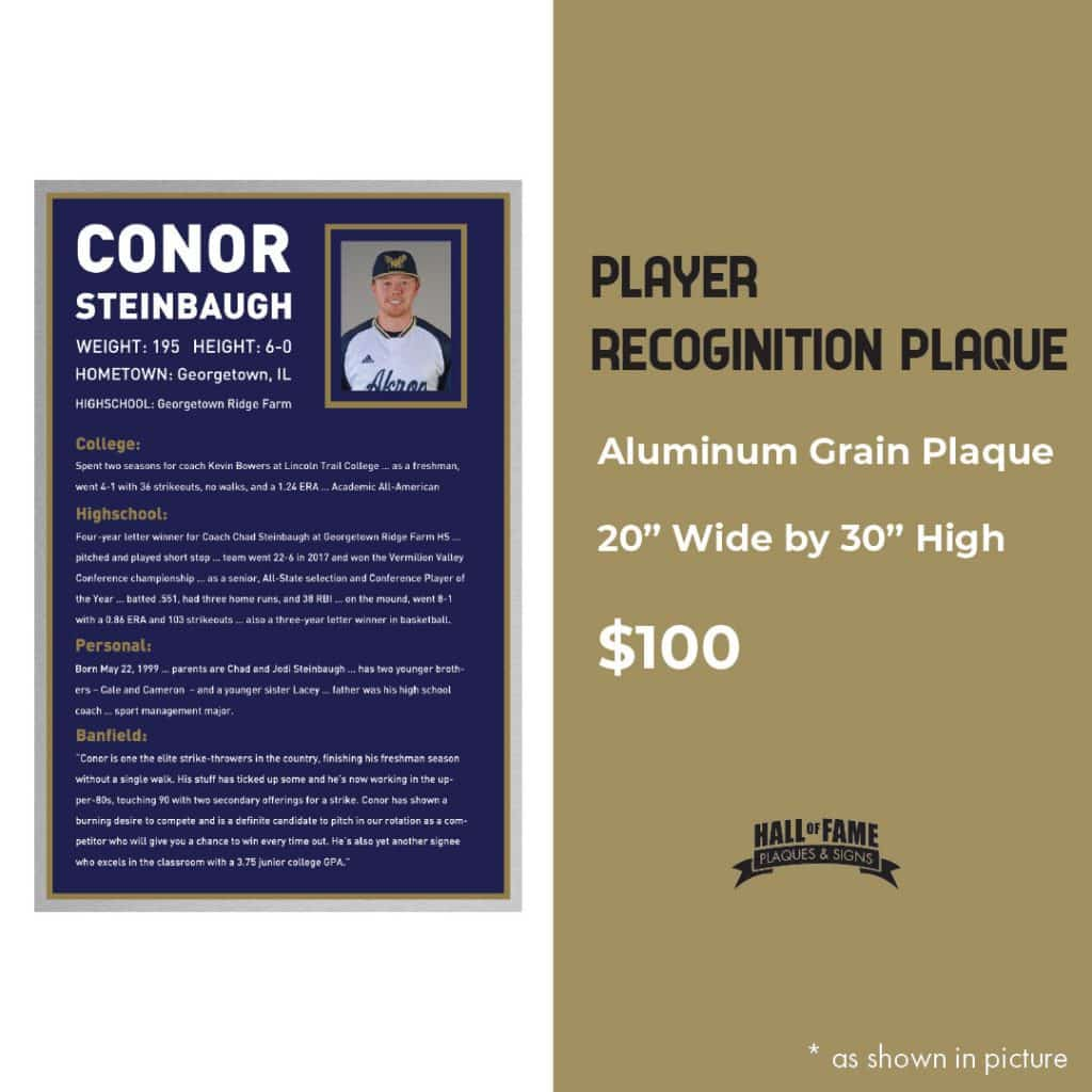Player Recognition Plaque Ad